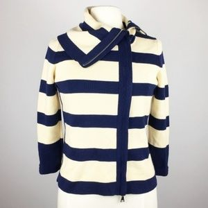 Club Monaco Nautical Striped Merino Zip Sweater M